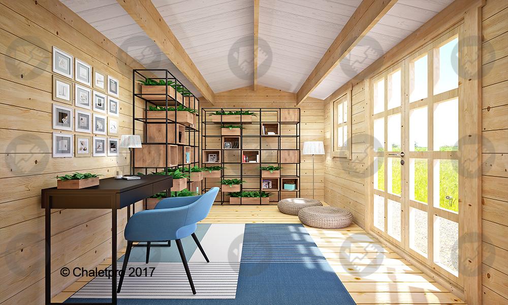 bureau dans un chalet en bois