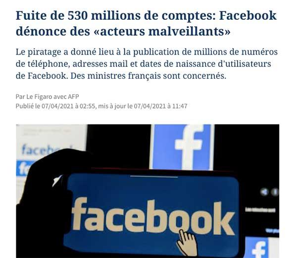 dernier piratage facebook 2021